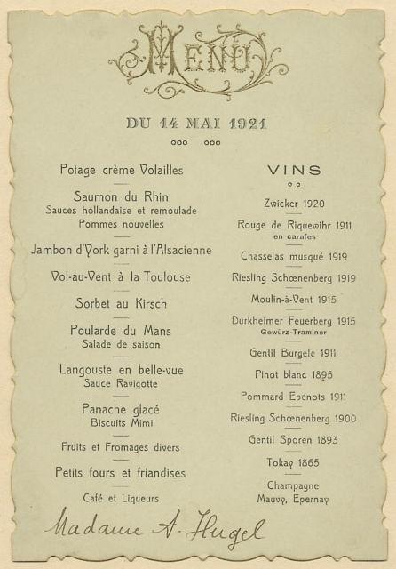 Menu 1921
